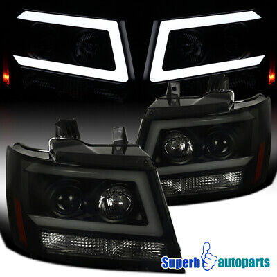 For 2007-2013 Avalanche LED DRL Strip Projector Black Smoke Headlights+Signal
