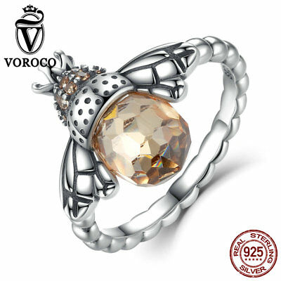 Voroco Queen Of Bee 925 Sterling Silver Finger Ring Fashion Women Charm - Sterling Silver Finger