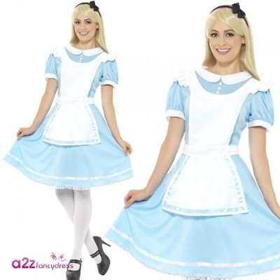 DAMEN WONDERLAND PRINZESSIN ALICE ERWACHSENE VERRÜCKTES KLEID KOSTÜM KARNEVAL (Alice Kostüme Erwachsene)