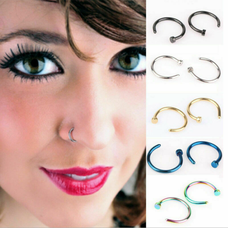 Jewellery - Unisex Small Fake Nose Ring Ear Lip Body Piercing Jewellery Silver Gold Black