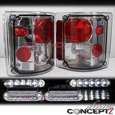 tail light tail lamp lens w chrome bezel trim pair set for 73 91 73 87 gmc chevy c k c10 truck light smoke lens tail light w front