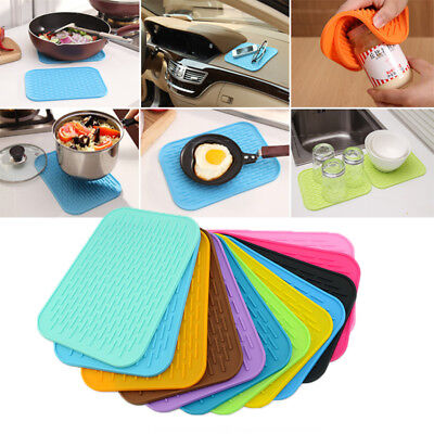 Quality Non-Slip Heat Resistant Pot Holders Square Pads Silicone Mats Hot (Silicone Hot Pad)