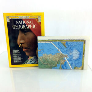 November 1975 National Geographic Magazine & 2 Sided World Wall