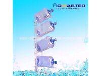 4 Tiers Foldable White 5 Gallon Portable Metal Water Bottle Rack (H:117cm x D:41cm)