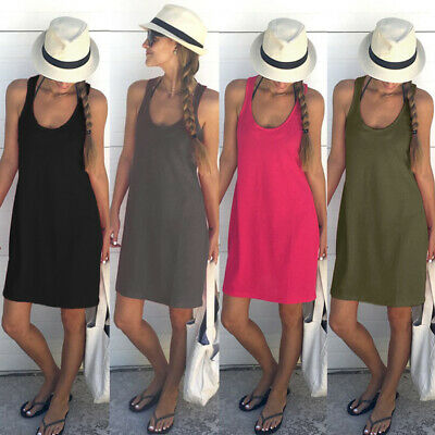 Women Summer Cotton Loose Vest Dress Sleeveless Sundress Ladies Midi Beachwear