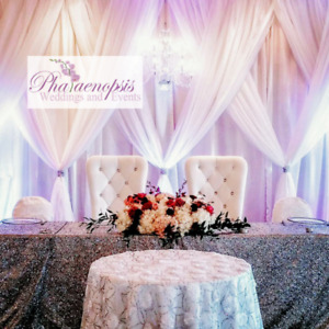***CUSTOM BACKDROPS, KING & QUEEN CHAIRS, FLOWER/GREEN WALL***