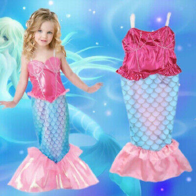 Little Mermaid Children Kids Girls Outfits Dress Up Costume Princess Dresses (A Little Princess Costume)