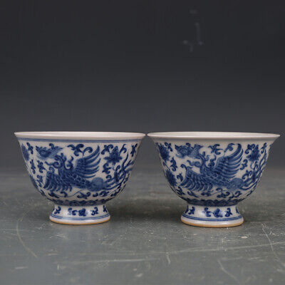 Chinese antique Ming chenghua Blue&white phoenix pattern porcelain cup A pair