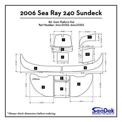 2006 Sea Ray 240 Sundeck - SeaDek Swim Platform Traction Pads - Custom Colors