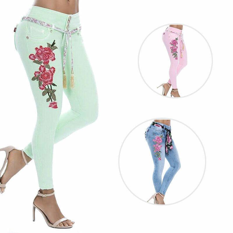 plus size women floral print stretch slim