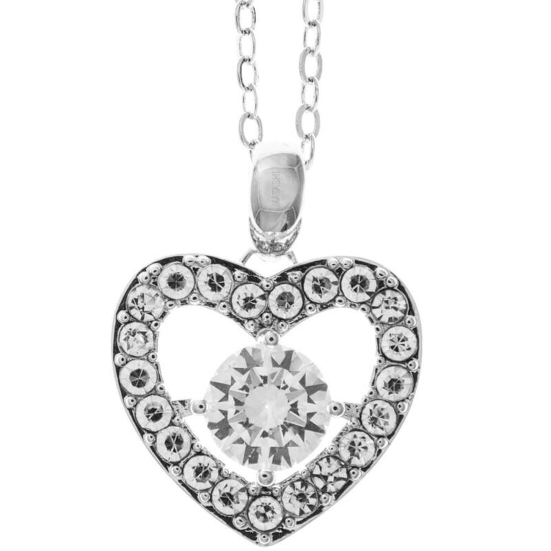 "16"" 18K White Gold Necklace w/Centered Heart Design & Clear Crystals by Matashi"