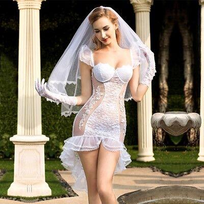 Erotisches Sexy Braut Damen Hochzeit Kostüm 4 Teilig