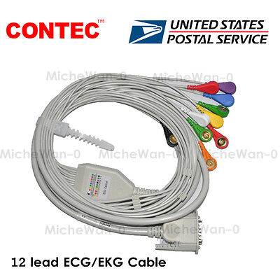 Us 12 Lead Ecgekg Cable Gilding Snap Banana Type For Contec Ecg Machine