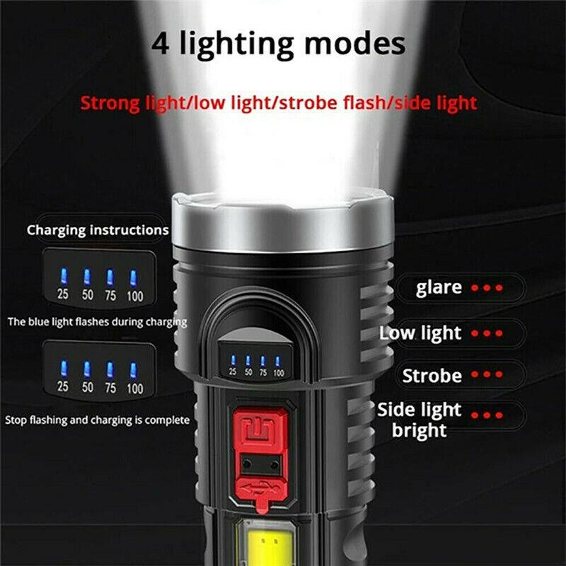 Super Bright 10000000LM LED Torch Taktische Flashlight USB Wiederaufladbar+Akku