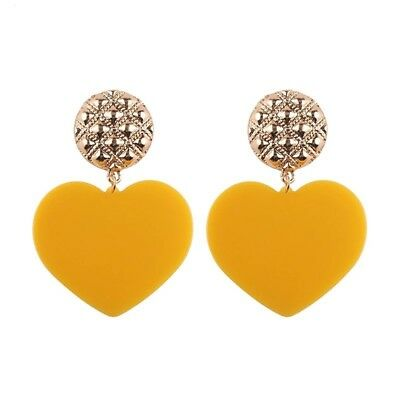 ZARA Fashion Yellow Hearts with golden circle mount Beautiful Earrings