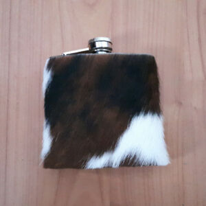 Cowhide Hair On Genuine Leather Whiskey Flasks
