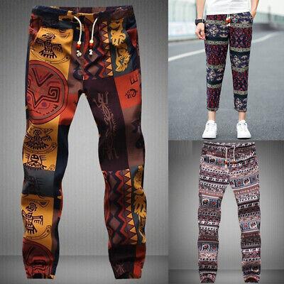 UK STOCK Mens Womens Harem Pants Hippie Cargo Trouser Patchwork Yoga Trousers