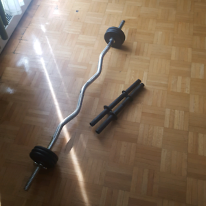 Curly barbell and weights
