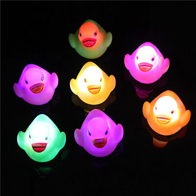 1pc Water-sensing Duck Baby Light Up Floating Swimming Toys Christmas Gifts New