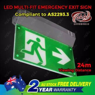 Emergency Exit Sign Light LED Ceiling Wall Mount Running Man North Melbourne Melbourne City Preview