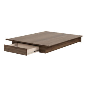 New in Box Full/Queen Platform Bed with drawer Colour Walnut