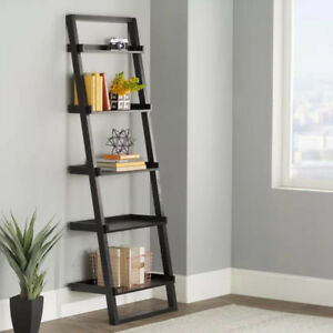 Three 5-tier leaning shelves in Espresso