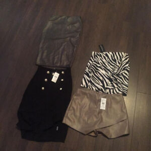 4 ASSORTED NEW  SMALL/MED  SKIRTS FAUX LEATHER AND MORE