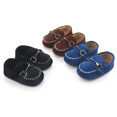 Newborn Baby Boy First Walkers Kid Handsome Metal Hasp Shoes Crib Soft Loafers