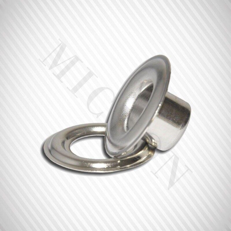"Micron #2 (3/8"") Nickel Self-Piercing Grommets & Washers, 500 Pcs Set Per Bag"