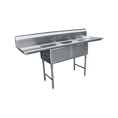 2 Compartment Stainless Steel Sink 18x18 2 Drainboard