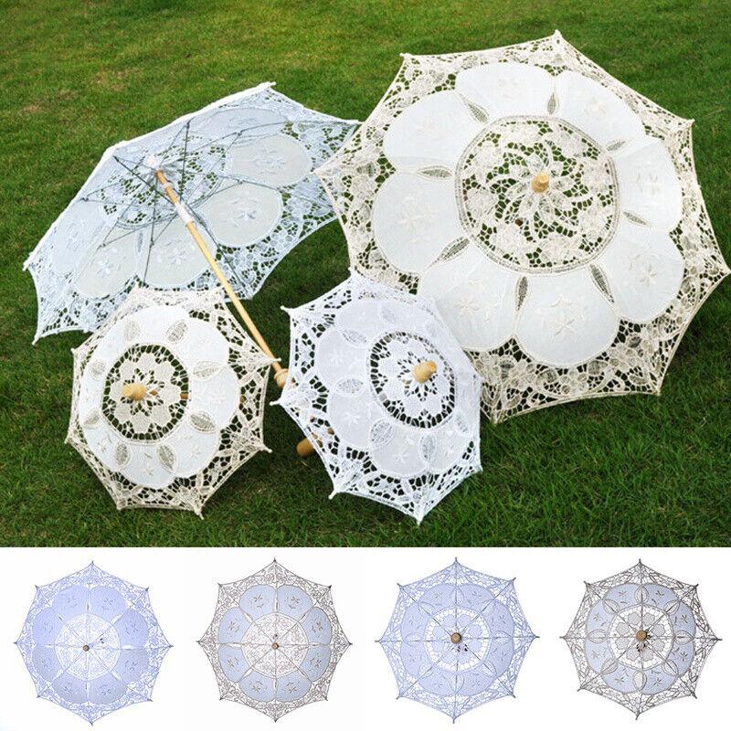 1PC Handmade Cotton Lace Parasol Umbrella Wedding Bridal Par