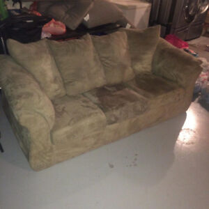 Light olive couch and love seat