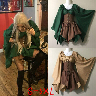 Medieval Women Woodland Elf Fairy Dress Corset Set Top Skirts Halloween Costume