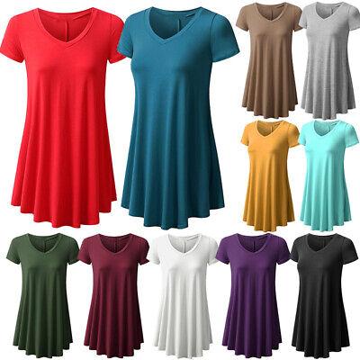Women V neck Swing Short Sleeve Tunic Top Long Blouse Casual Loose T-Shirt Dress Swing Top Tee