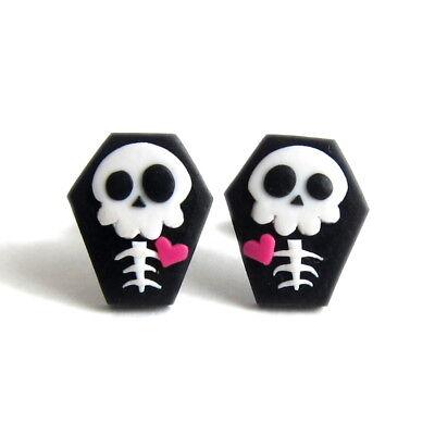 Halloween Costume For Girls Kids Coffin Skeleton Skull Funny Earrings Jewelry (Skeleton Halloween Costume For Kids)