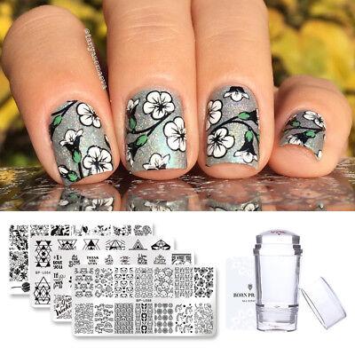 6Pcs Born Pretty Rectangle Nail Art Stamping Plate Stamper Scraper Kit Love Gift