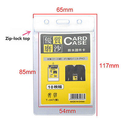 10pcs Vertical Transparent Vinyl Plastic Id Card Cover Badge Holder With Zipper