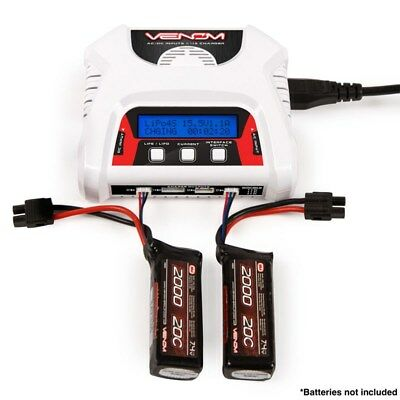 Venom 2-4 Cell AC/DC LiPo LiFe Battery Balance Charger w/LCD - DUAL 2S CHARGING