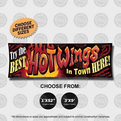 BEST HOT WINGS Banner Sign Open Display Fast Food Restaurant Tailgate Party (Best Fast Food Wings)