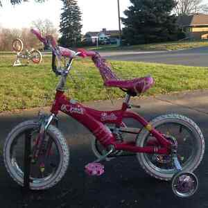 "14"" Barbie Bike with Removable Training Wheels  EXCELLENT Condit"