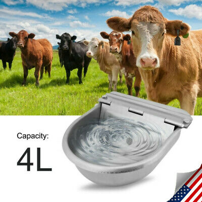 Automatic Stainless Steel Water Trough Horse Cow Dog Sheep Animal Goat Bowl New