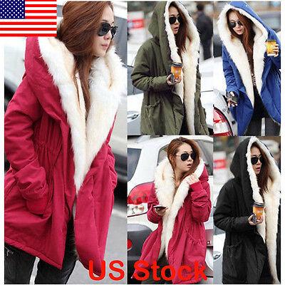 Women Warm Coat Fleece Faux Fur Jacket Warm Winter Parka Overcoat Long Outwear