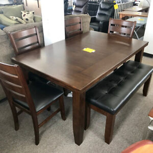 6 Piece Dining Set with Bench - Delivery Available