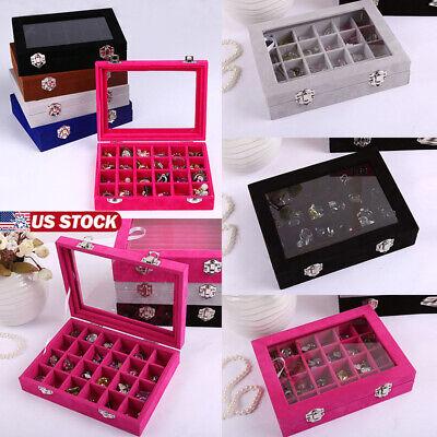 Velvet Glass Jewelry Set Ring Display Organizer Tray Holder Box Storage Cases Glass Jewelry Display Cases