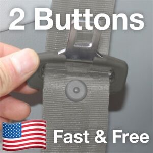 SNAPS ON! – 2 Seat Belt Button Buckle Stop - Universal Fit Stopper Kit in Gray