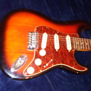 Electric squire by fender guitar and amplifier $200