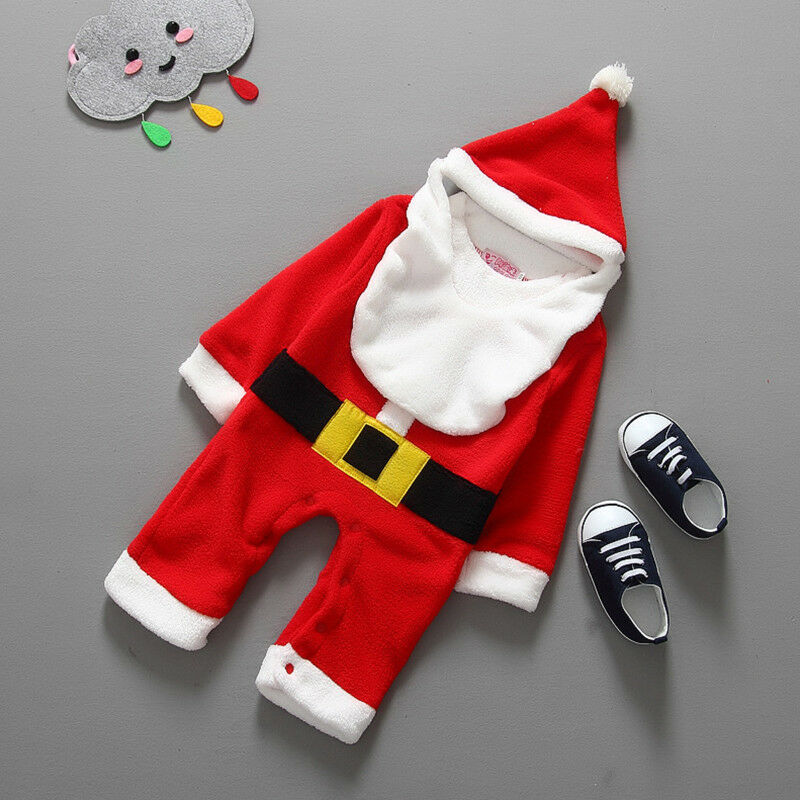 Newborn Baby Girl Boy Christmas Costume Santa Claus Hat Romper Clothes Outfit US