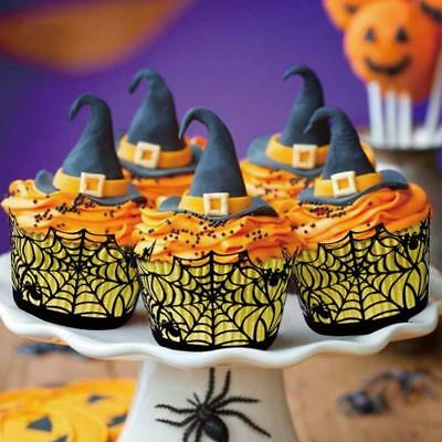 12Pcs Halloween Decorations Cupcake Wrappers Wraps Case Hollow Laser Cut Cake DD - Halloween Cupcake Cake Decorations