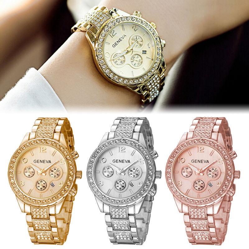 $4.89 - Geneva Luxury Women Crystal Stainless Steel Quartz Analog Wrist Watch  F0023