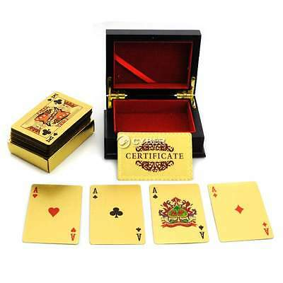 24K Gold Foil Plated Poker Playing Cards Traditional Set With Black Box Free DZ8